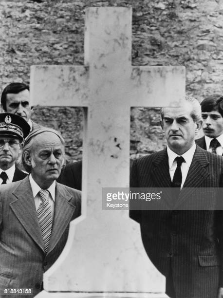 René Lévesque the Premier of Quebec and Alain Peyrefitte the French Minister of Justice whilst visiting the tomb of General de Gaulle in the cemetery...