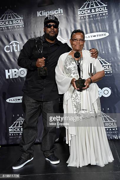 Ren of NWA poses with EazyE's mother Katie Wright at the 31st Annual Rock And Roll Hall Of Fame Induction Ceremony at Barclays Center on April 8 2016...