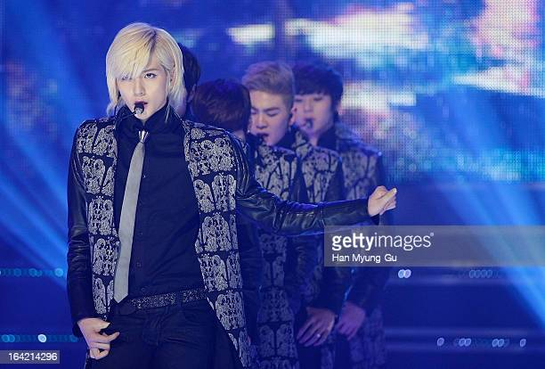 Ren of South Korean boy band NU'EST performs onstage during the MBC Music 'Show Champion' at UniqloAX Hall on March 20 2013 in Seoul South Korea