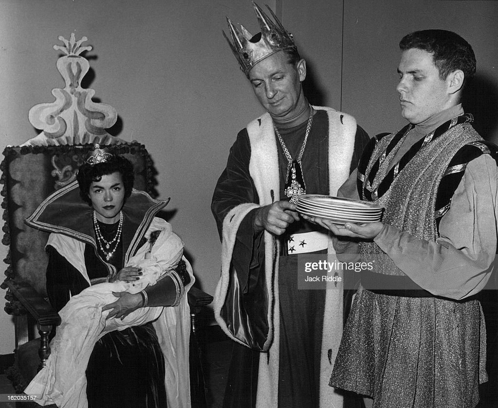 OCT 19 1959, OCT 22 1959, OCT 25 1959; Rena Ricker, William Tyler and Tom Downing Discusses the fact the Black Fairy hasn't been invited to the Christening of the Princess in civic Theater's 'sleeping Beauty,' Oct. 31 Nov. 1 at Bonfils.;