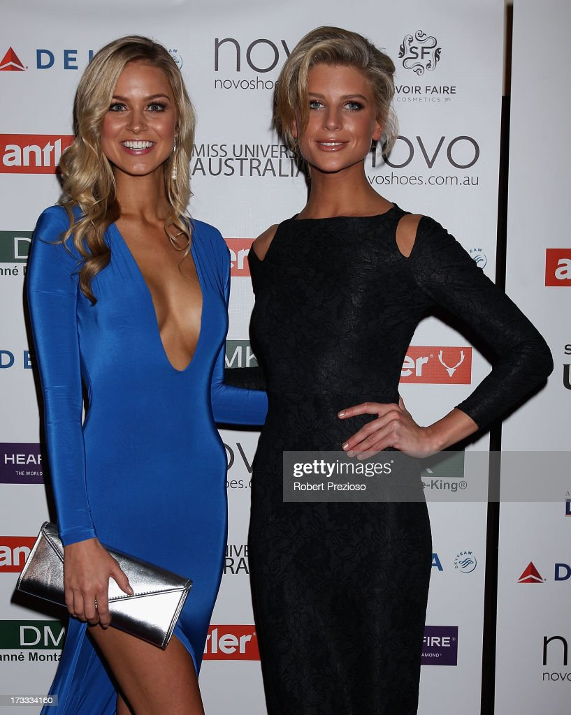 Renae Ayris and Sophie Van Den Akker arrive at the 2013 Miss Universe Australia Pageant on July 12, 2013 in Melbourne, Australia.