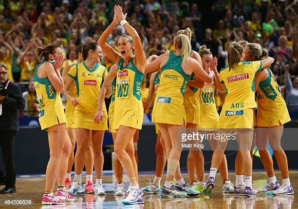 Renae Hallinan and the Australian Diamonds celebrate victory in the 2015 Netball World Cup Gold Medal match between Australia and New Zealand at...