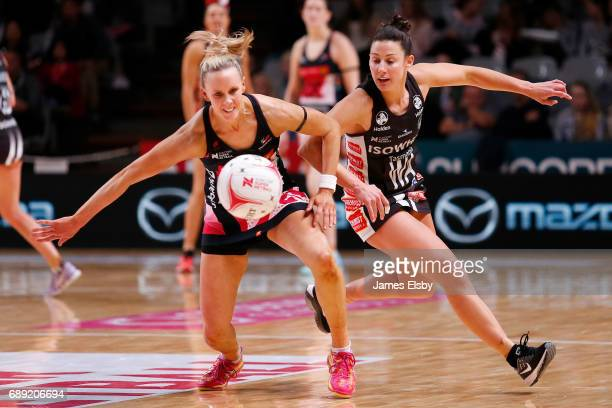 Renae Ingles of the Thunderbirds clashes Madi Robinson of the Magpies during the round 14 Super Netball match between the Thunderbirds and Magpies at...