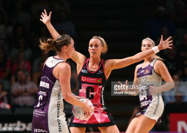 Renae Ingles of the Thunderbirds defends during the round six Super Netball match between the Thunderbirds and the Firebirds at Titanium Security...