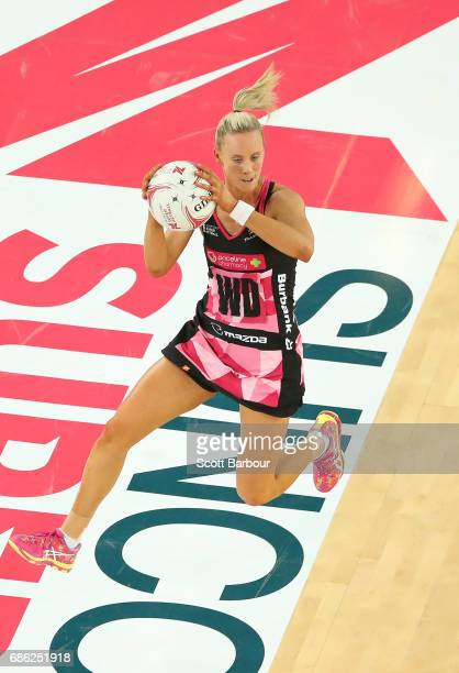 Renae Ingles of the Thunderbirds passes the ball during the round 13 Super Netball match between the Vixens and the Thunderbirds at Margaret Court...
