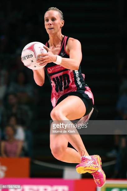 Renae Ingles of the Thunderbirds wins the ball during the round six Super Netball match between the Thunderbirds and the Firebirds at Titanium...