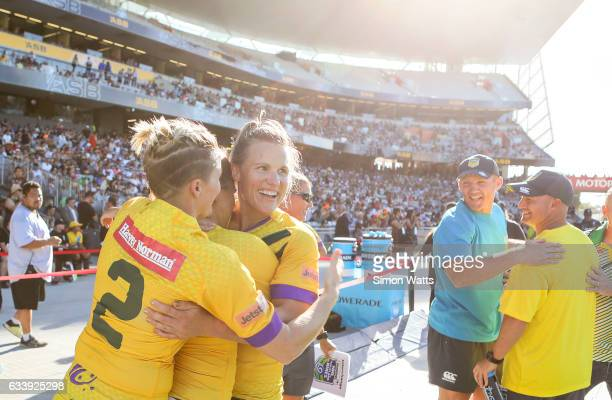 Renae Kunst of the Australian Jillaroos celebrates victory during the 2017 Auckland Nines match between the Australian Jillaroos and the Kiwi Ferns...