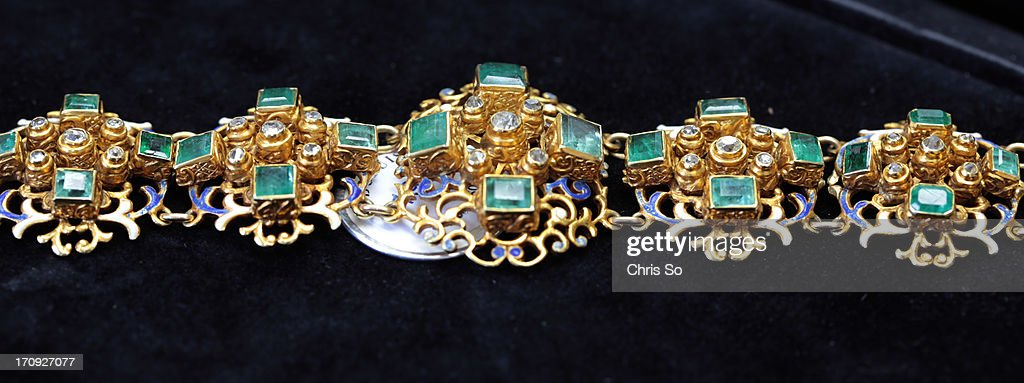A renaissance enamel emerald and diamond bracelet in 14k gold expected to sell for $3500-4500. The antique estate jewellery is part of the of Brenda and Robertson Davies collection that will be auctioned off at The Windsor Arms Hotel on Sunday, June 23, 2013.