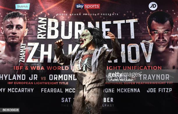 Renald Garrido of France arrives for his weigh in versus Tyrone McKenna of Northern Ireland wearing a halloween fancy dress outfit on the Ryan...