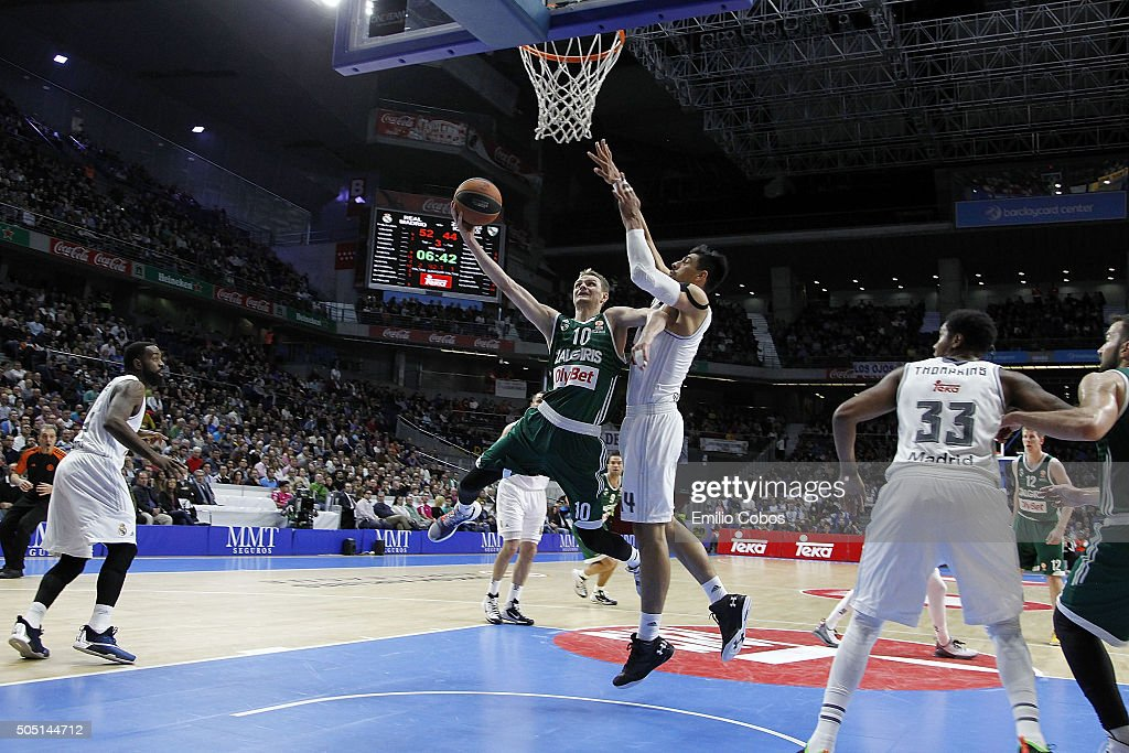 Renaldas Seibutis #10 of Zalgiris Kaunas in action during the Turkish Airlines Euroleague Basketball Top 16 Round 3 game between Real Madrid v...