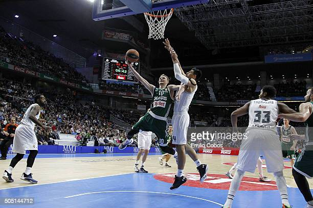 Renaldas Seibutis #10 of Zalgiris Kaunas in action during the Turkish Airlines Euroleague Basketball Top 16 Round 3 game between Real Madrid v...