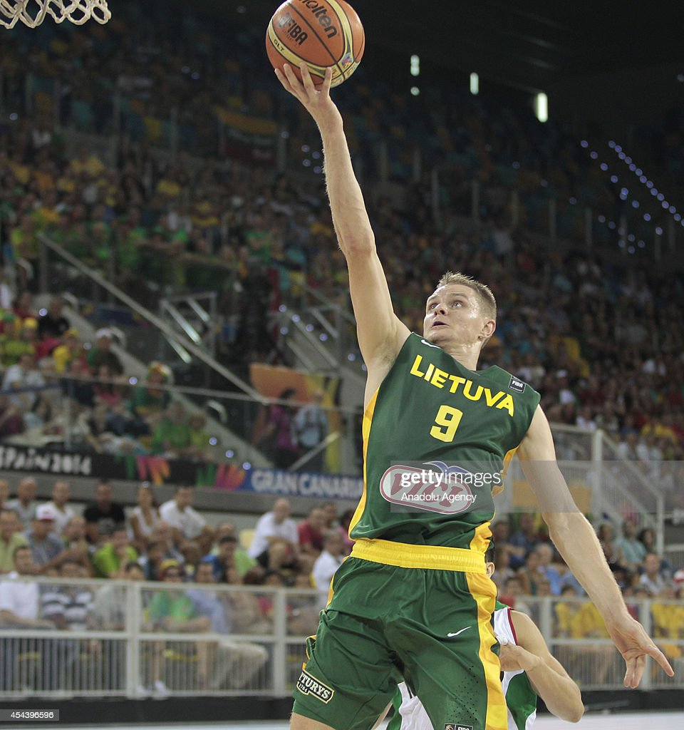 Renaldas Seibutis of Lithuania in action during the 2014 FIBA World basketball championships group D match between Lithuania vs Mexico at the Gran Canaria Arena in Gran Canaria on August 30, 2014.
