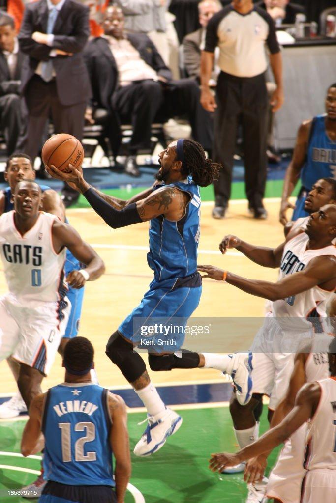 Renaldo Balkman #13 of the Dallas Mavericks goes to the basket against Bismack Biyombo #0 of the Charlotte Bobcats at the Greensboro Coliseum on October 19, 2013 in Greensboro, North Carolina.