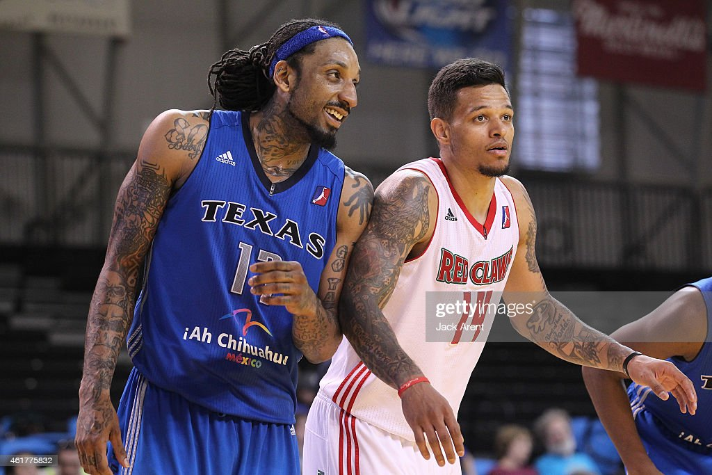<a gi-track='captionPersonalityLinkClicked' href=/galleries/search?phrase=Renaldo+Balkman&family=editorial&specificpeople=712565 ng-click='$event.stopPropagation()'>Renaldo Balkman</a> #17 of the Texas Legends reacts while playing against <a gi-track='captionPersonalityLinkClicked' href=/galleries/search?phrase=Chris+Babb&family=editorial&specificpeople=5758599 ng-click='$event.stopPropagation()'>Chris Babb</a> #14 of the Maine Red Claws of the during the 2015 NBA D-League Showcase presented by SAMSUNG on January 18, 2015 at Kaiser Permanente Arena in Santa Cruz, California.