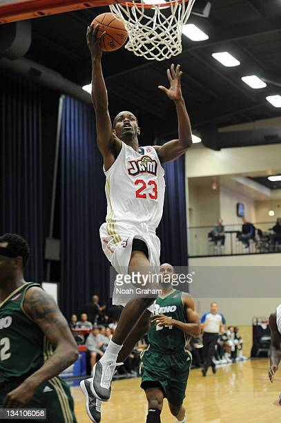 Renaldo Major of the Bakersfield Jam gets to the basket during the game against the Reno Bighorns on November 25 2011 at the Jam Event Center in...