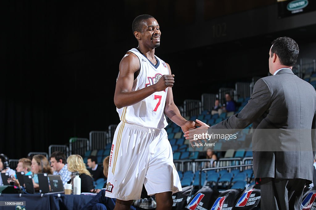 <a gi-track='captionPersonalityLinkClicked' href=/galleries/search?phrase=Renaldo+Major&family=editorial&specificpeople=4024958 ng-click='$event.stopPropagation()'>Renaldo Major</a> #7 of the Bakersfield Jam reacts against the Sioux Falls Skyforce during the 2013 NBA D-League Showcase on January 7, 2013 at the Reno Events Center in Reno, Nevada.