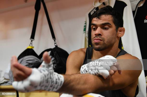 Renan Barao of Brazil has his hands wrapped prior to his bout against Aljamain Sterling during the UFC 214 event at Honda Center on July 29 2017 in...