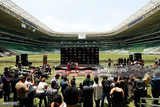 Renan Barao of Brazil holds an open training session for fans and media at Allianz Parque on December 18 2014 in Sao Paulo Brazil