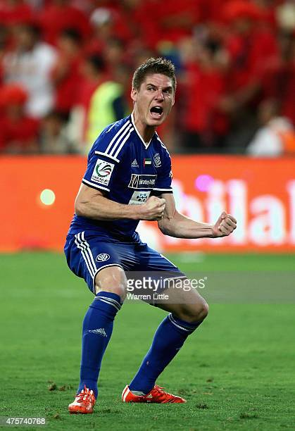 Renan Garcia celebrates after converting his penalty during the shoot out in which Al Nasr wins the President's Cup Final between Al Ahli and Al Nasr...
