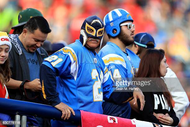 Renan Rocky Pozo reacts to the San Diego Chargers losing to the Kansas City Chiefs 3727 in a game at Qualcomm Stadium on January 1 2017 in San Diego...