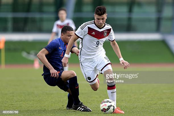 Renat Dadachov of Germany challenges Armando Obispo of Netherlands during the U16 UEFA development tournament between Germany and Netherlands on...