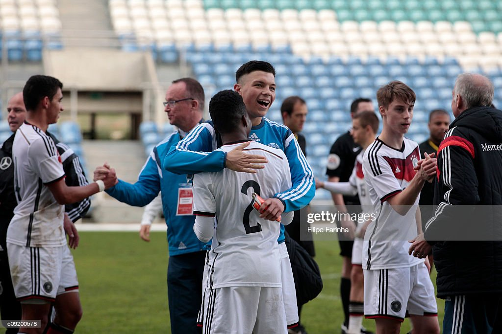 Renat Dadashov and Alfons Amade of Germany celebrate the victory during the UEFA Under17 match between U17 Portugal v U17 Germany on February 9, 2016 in Estádio Algarve, Loulé, Portugal.