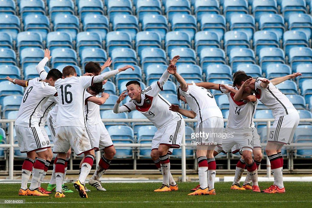 Renat Dadashov of Germany celebrates a goal with his teammates during the UEFA Under17 match between U17 Portugal v U17 Germany on February 9, 2016 in Estádio Algarve, Loulé, Portugal.