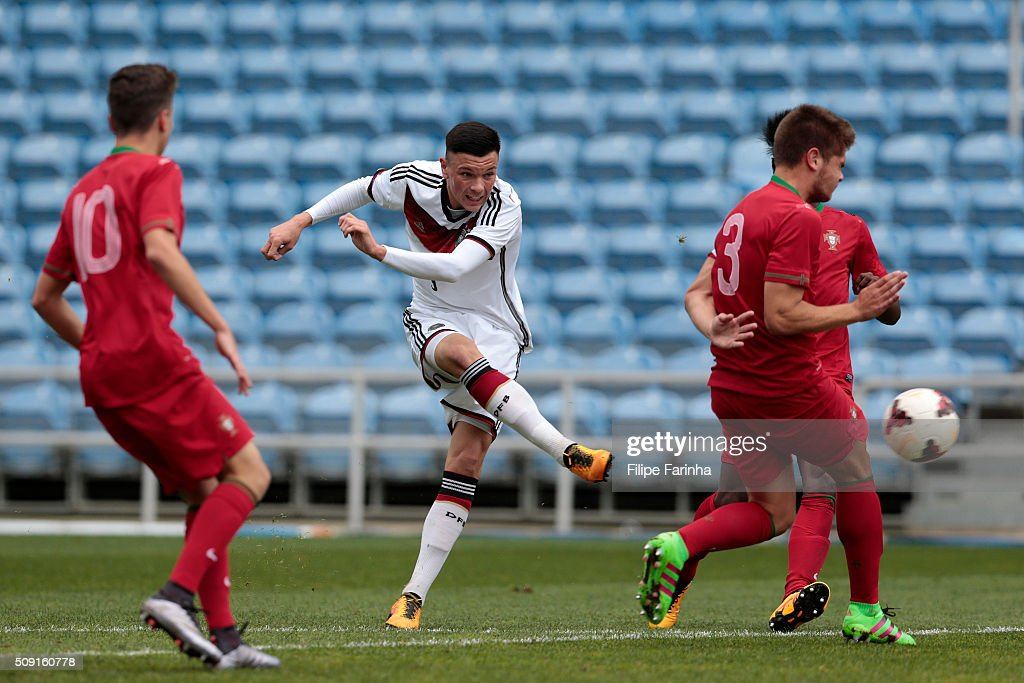 Renat Dadashov of Germany has an attempt on goal during the UEFA Under17 match between U17 Portugal v U17 Germany on February 9, 2016 in Estádio Algarve, Loule, Portugal.