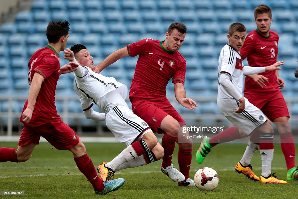 Renat Dadashov of Germany scores a goal during the UEFA Under17 match between U17 Portugal v U17 Germany on February 9, 2016 in Estádio Algarve, Loule, Portugal.