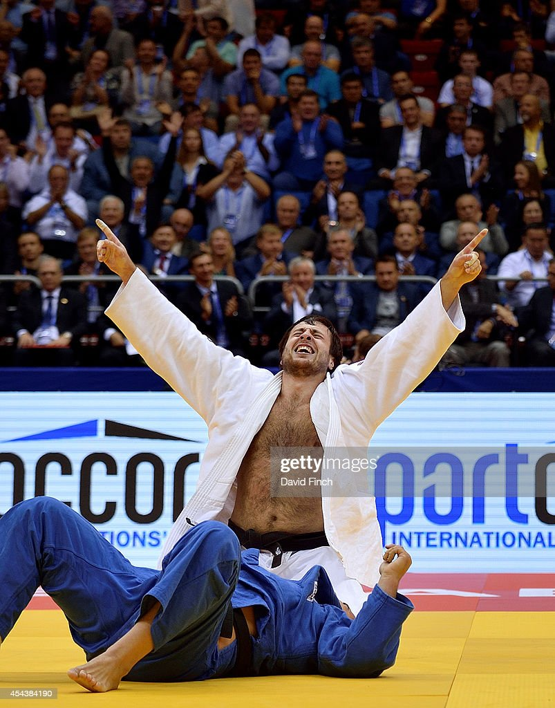 Renat Saidov of Russia (white) defeated David Moura of Brazil by an ippon from a hold to win the o100kg contest and the bronze medal during the Chelyabinsk Judo World Championships at the Sport Arena 'Traktor' on August 30, 2014 in Chelyabinsk, Russia.