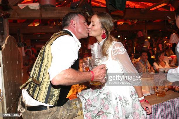 Renata Kochta and her husband Thomas Frank during the Oktoberfest at Kaeferzelt at Theresienwiese on September 25 2017 in Munich Germany