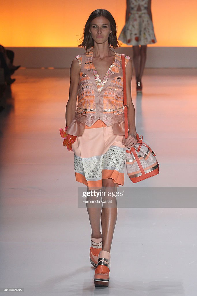 Renata Kuerten walks the runway at Triton show during Sao Paulo Fashion Week Summer 2014/2015 at Parque Candido Portinari on April 1, 2014 in Sao Paulo, Brazil.