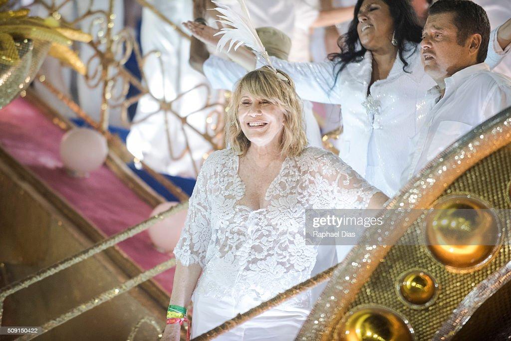 Renata Sorrah attends to the Rio Carnival in Sambodromo on February 8, 2016 in Rio de Janeiro, Brazil. Despite the Zika virus epidemic, thousands of tourists gathered in Rio de Janeiro for the carnival.