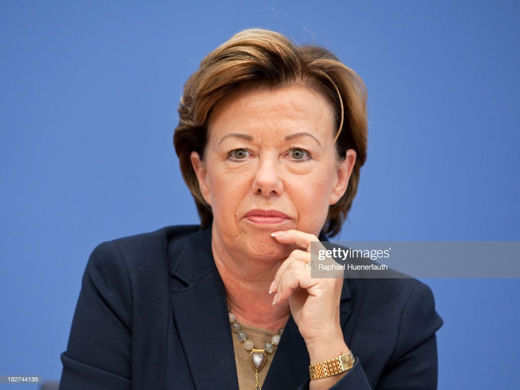 Renate Koecher, Director of the Institut fuer Demoskopie in Allensbach ( IfD ), during a press conference at Bundespressekonferenz on September 24, 2012 in Berlin, Germany. Kristina Schroeder presented the Monitor Family Life 2012.