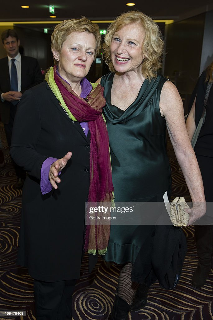 Renate Kuenast (L) and Maren Kroymann attend the 1st Charity Dinner by Federal Trust Fund Magnus Hirschfeld at Waldorf Astoria on May 25, 2013 in Berlin, Germany.