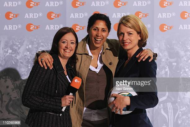 Renate Lingor Steffi Jones and Jessy Wellmer pose during a photocall with the ARD and ZDF TV presenters for the FIFA Women World Cup 2011 at the...