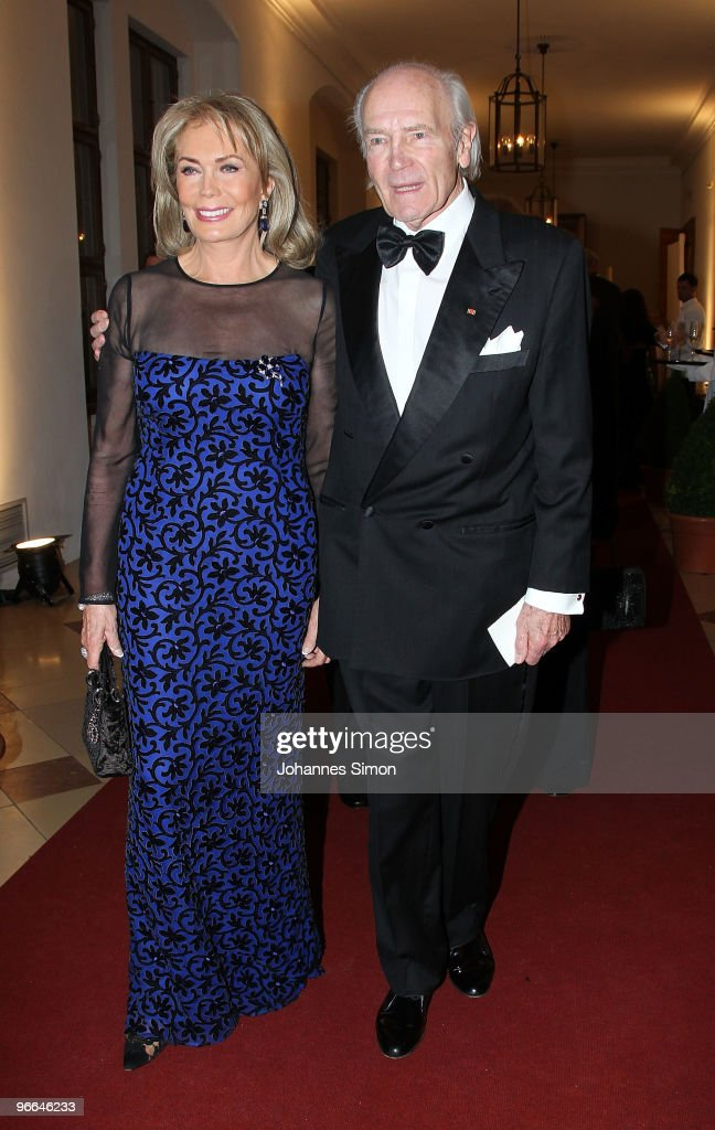 Renate Thyssen-Henne and Ernst Theodor Henne arrive for the Hubert Burda Birthday Reception at Munich royal palace on February 12, 2010 in Munich, Germany.