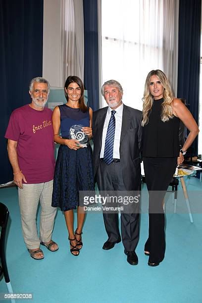 Renato Accorinti Valeria Solarino Giuliano Poletti and Tiziana Rocca attend Mimmo Rotella Award Ceremony during the 73rd Venice Film Festival on...