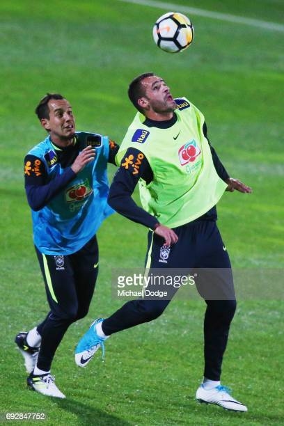 Renato Augusto controls the ball against Rodriguinho of Brazil during a Brazil training session at Lakeside Stadium on June 6 2017 in Melbourne...