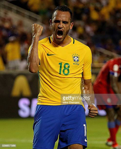 Renato Augusto of Brazil celebrates a goal during a Group B match of the 2016 Copa America Centenario against the Haiti at Camping World Stadium on...