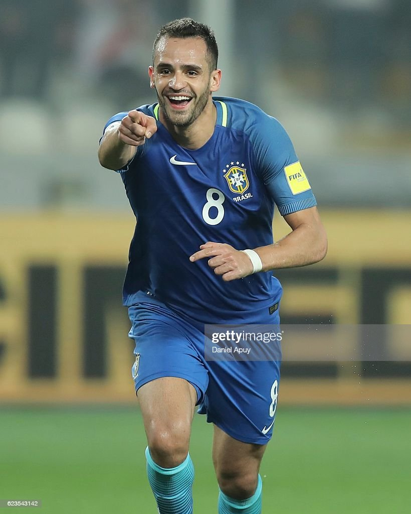 Renato Augusto of Brazil celebrates after scoring the second goal of his team during a match between Peru and Brazil as part of FIFA 2018 World Cup Qualifiers at Nacional Stadium on November 15, 2016 in Lima, Peru.