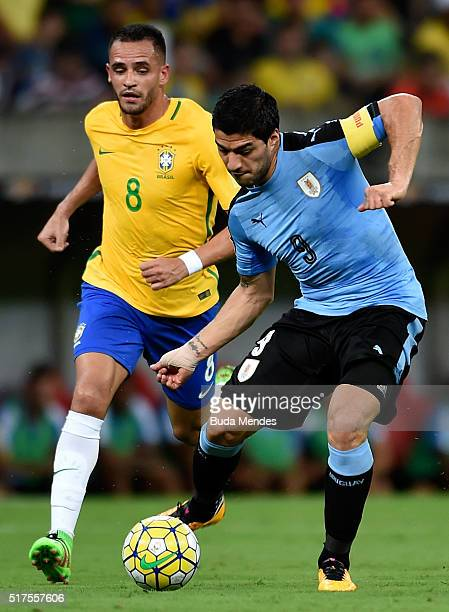 Renato Augusto of Brazil struggles for the ball with Luis Suarez of Uruguay during a match between Brazil and Uruguay as part of 2018 FIFA World Cup...