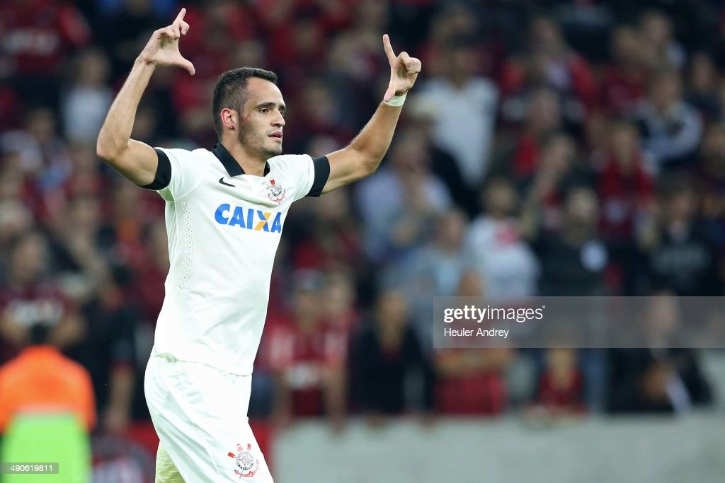 <a gi-track='captionPersonalityLinkClicked' href=/galleries/search?phrase=Renato+Augusto&family=editorial&specificpeople=4192762 ng-click='$event.stopPropagation()'>Renato Augusto</a> of Corinthians celebrate goal during the match between Atletico-PR and Corinthians for the Test Event FIFA at Arena da Baixada stadium on May 14, 2014 in Curitiba, Brazil.