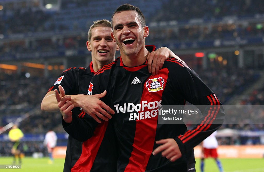 <a gi-track='captionPersonalityLinkClicked' href=/galleries/search?phrase=Renato+Augusto&family=editorial&specificpeople=4192762 ng-click='$event.stopPropagation()'>Renato Augusto</a> of Leverkusen celebrates after scoring the 4th goal during the Bundesliga match between Hamburger SV and Bayer Leverkusen at Imtech Arena on December 11, 2010 in Hamburg, Germany. (Photo by Martin Rose/Bongarts/GettyImages).