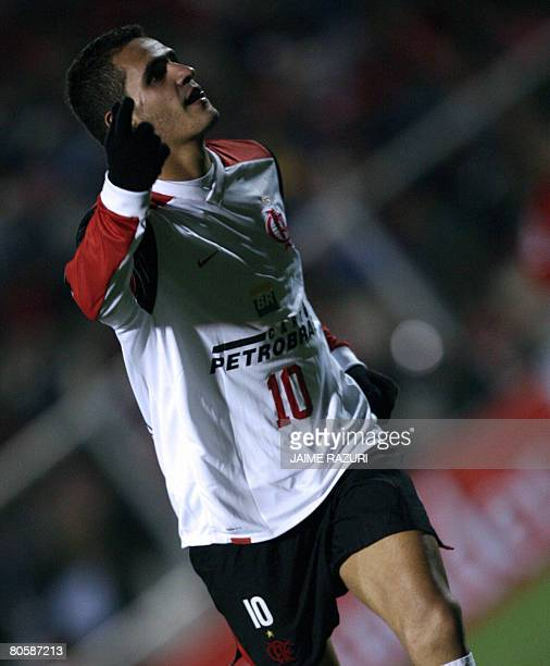 Renato Augusto Soares from Brazil's Flamengo celebrates after scoring a goal against Peruvian Cienciano during their Libertadores Cup match on April...