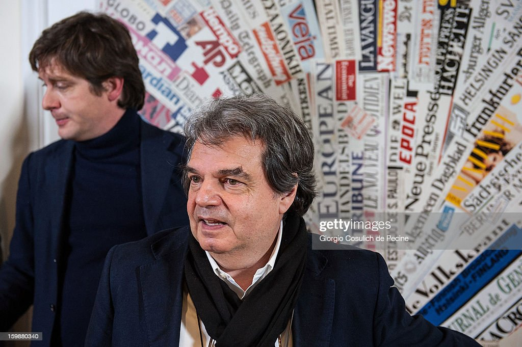 Renato Brunetta (C), from PDL political party and Giuseppe Civati from PD Democratic Party, attend the press conference for the presentation of Google Elections 2013 on January 22, 2013 in Rome, Italy. The Google platform elections, organized in collaboration with the newspaper La Stampa and the TV channel La7, brings for the first time in Italy a new model of citizen participation on the web, which has already been successfully tested by Google in elections in the U.S., in France, Germany and other countries of the world.