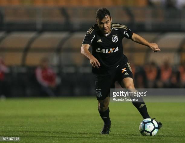 Renato Caja of Ponte Preta kicks the ball during the match between Santos and Ponte Preta as a part of Campeonato Brasileiro 2017 at Pacaembu Stadium...