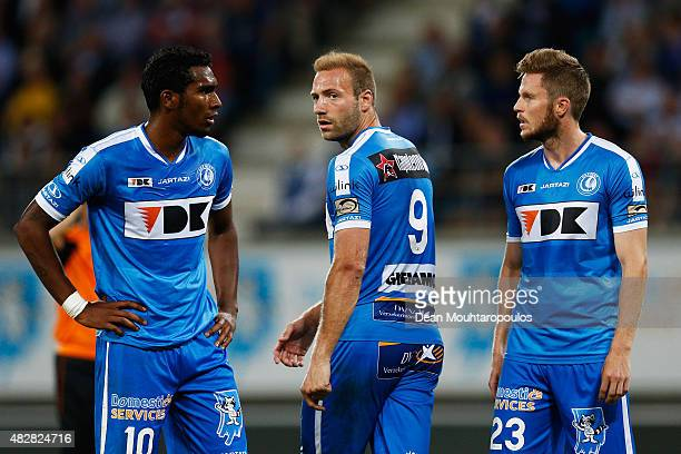 Renato Cardoso Neto Laurent Depoitre and Lasse Nielsen of Gent looks on during the Jupiler League match between KAA Gent and KRC Genk held at the...