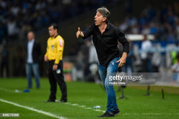 Renato Gaucho coach of Gremio a match between Cruzeiro and Gremio as part of Copa do Brasil SemiFinals 2017 at Mineirao stadium on August 23 2017 in...