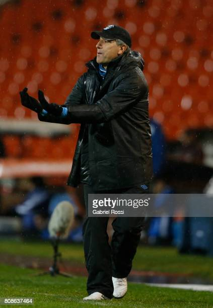 Renato Gaucho coach of Gremio gives instructions to his players during a first leg match between Godoy Cruz and Gremio as part of round of 16 of Copa...